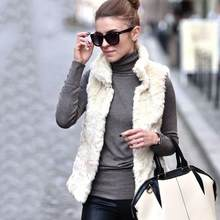 Women's Open Front Lapel Draped Sherpa Fleece Vest Winter Warm Faux Fur Sleeveless Cardigan Jacket Short Fashion Vest(China)