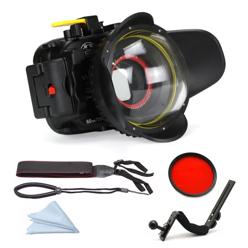 DF Seafrogs 60m/195ft Underwater Diving Camera Housing Waterproof Bags for Olympus TG5 with Diving handle / Red Filter / Fisheye