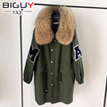 100KG Plus Size Winter Coats Women Jackets Real Large Raccoon Fur Collar Fashion Thick Ladies Down Parkas Army Green 5XL YF 758