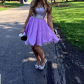 Roxo querida cristal Beading vestido de baile vestido de Organza vestido de festa curto vestidos de formatura