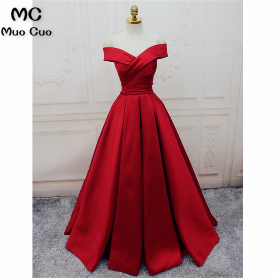 Elegant 2018 Off Shoulder   Evening     Dresses   Long Satin Short Sleeve Floor Length Lace Up Back Formal   Evening   Party   Dress   for Women