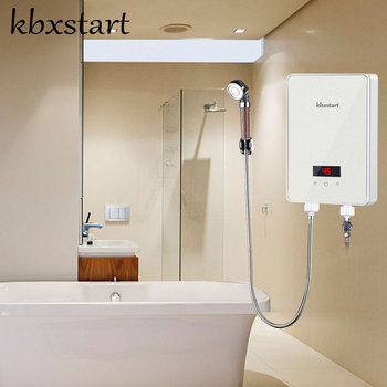 6000W Chuveiro Eletrico Ducha Instant Tankless Electric Water Heater Wall Mounted Electrica Water Heater Thermostat With Shower 600w infrared space heater panel room heater with wireless sensor thermostat