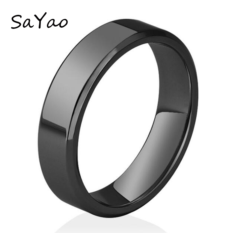 1 Piece Free shipping Fashion Stainless Steel Ring Rose Gold 6mm Width Finger Rings Black Tail Ring