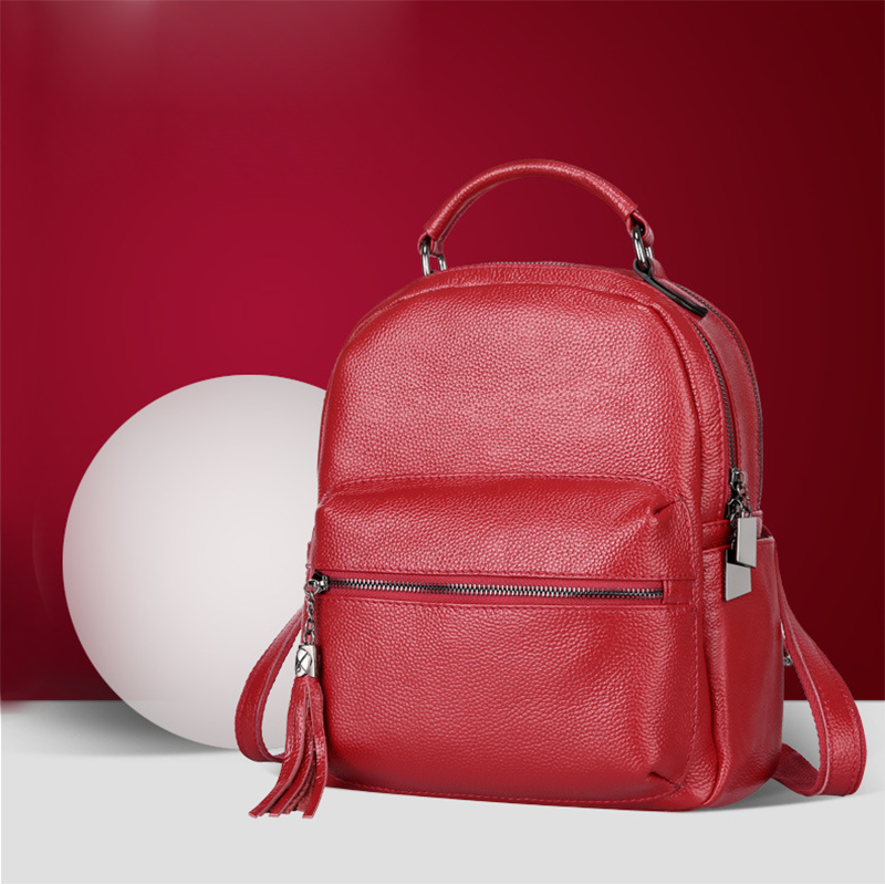 British Style Fashion Student Genuine Leather Zipper Tassel Backpack Travel Cow Leather Double Shoulder Bag School Bags british style leather backpack school bag oil wax cowhide black women travel backpacks rucksack ladies double shoulder bags