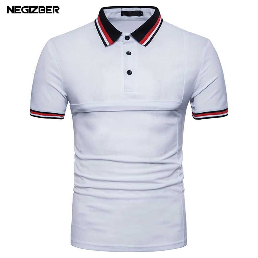 NEGIZBER Mens   Polo   Summer 2018   Polo   Shirt Men Slim Fit   Polos   para hombre Polyester Short Sleeve   Polos   Homme Clothing Male Tops