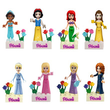 8pcs Princess Figures Snow White Tinker Mermaid Bell Sleeping Beauty Building Blocks Girl Toys