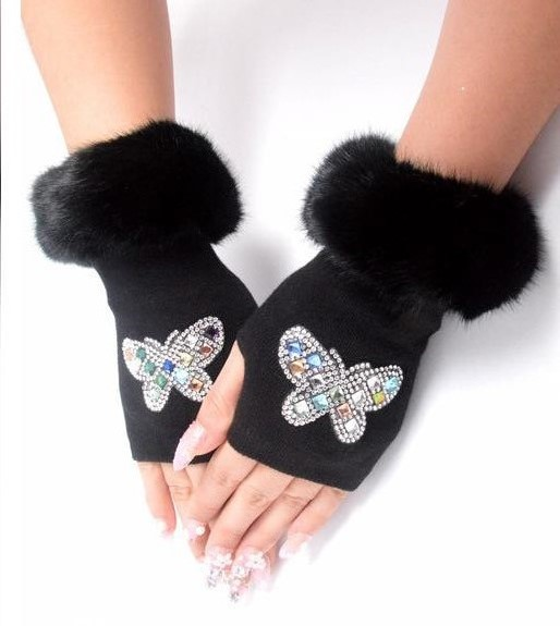 Women's Knitted Fingerless Glove Lady's Winter Rhinestone Glove Winter Rivet Glove Faux Fur Floral Print Driving Glove R296
