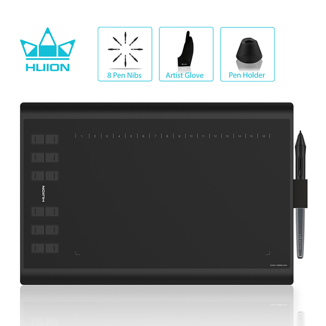 US $89 99 30% OFF HUION H1060P Graphic Drawing Tablet Battery free Stylus  Tilt Support Digital Tablet with 8192 Pen Pressure 12 Express Keys-in