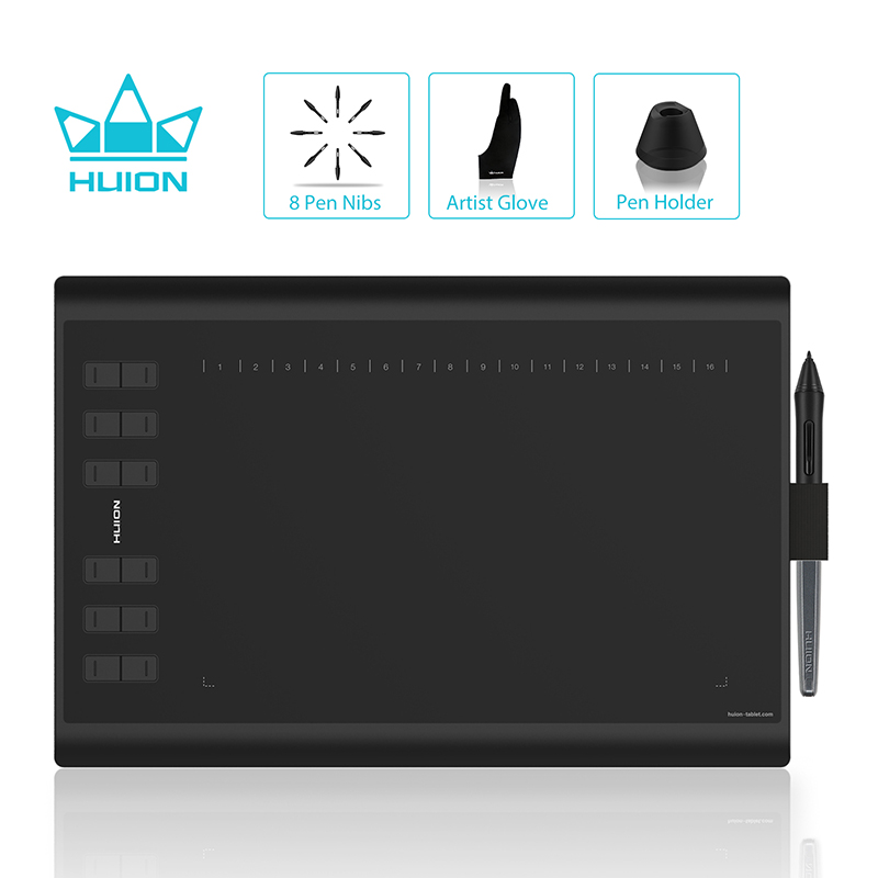 HUION H1060P tablette de dessin graphique stylet sans batterie Support d'inclinaison tablette numérique avec 8192 stylo pression 12 touches Express