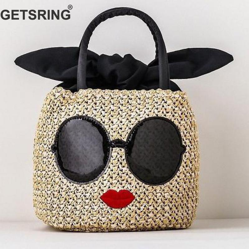GETSRING Women Bag Women Handbags Straw Bag Cartoon Print Totes For Women 2019 New Fashion Vintage