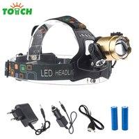 8000Lm Levou luz de Trabalho Recarregável Head Lamp xml 3 * T6 Farol Zoom Ajustar Capacete Luz Linternas Carga De Energia Usb para bicicleta Peixe