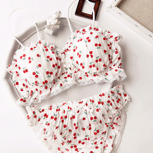 Image 1 - Wriufred Cherry Printed Cotton Girl Heart Student Bra Set Wire Free Soft Cup Underwear Big Gathered Tube Top Lingerie Sets