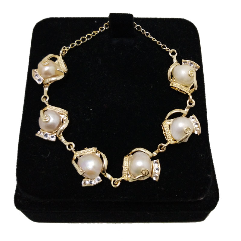 8 inches Gold Color White Baroque Pearl Bracelet,Sold by Piece