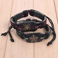 2016 Leather spider love bracelet adjustable cuff halloween biker jewelry black Bracelets for Women Man lovers Pulsera 1 pair