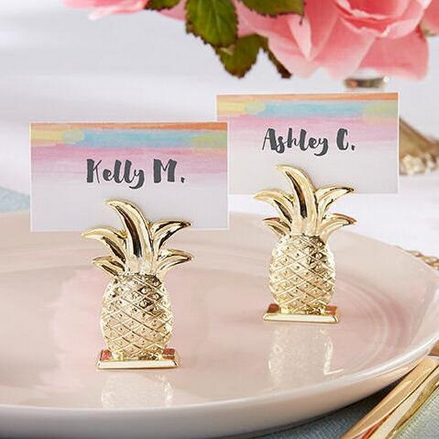 Free Shipping 15pcs Lot Golden Wedding Favors Gold Pinele Place Card Holders