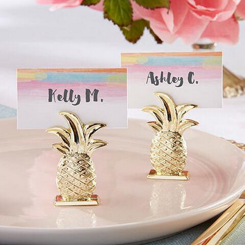 FREE SHIPPING(15pcs/Lot)+Golden Wedding Favors Gold Pineapple Place Card Holders Party Table Accessories