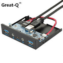 Great-Q New 5 Port USB 3.1 TYPE-C USB 3.0 HUB Front Panel with 3.5mm Audio + TYPE C + USB3.0 Bracket for Desktop 3.5 Floppy internal usb 3 1 gen 1 type c usb 3 0 port hub front panel w 20 pin extension cable for desktop pc case 3 5 floppy bay mount