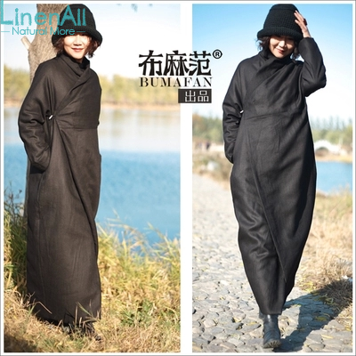 Linen clothing women's winter black color 100% linen thick cotton-wadded coat down parkas outerwear