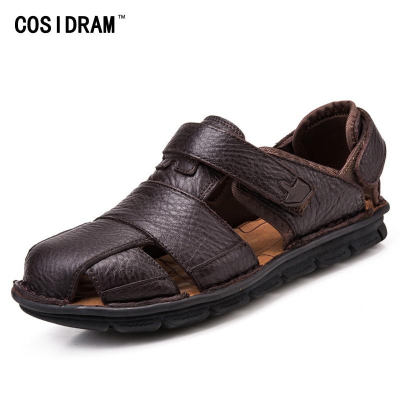COSIDRAM Luxury Genuine Leather Summer Shoes Men Sandals Fashion Male Sandalias Beach Shoes Soft Bottom Breathable