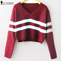 Autumn  striped knitted short Pullover Sweater women fashion V Neck long Sleeve casual Knitwear Korean Style Tops new T58305