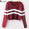 Otoño de rayas de punto Suéter corto Pullover mujeres moda V Cuello de Manga larga Punto casual Tops Estilo Coreano nueva T58305