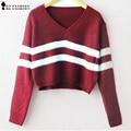 Outono listrado de malha curto Pullover Camisola da forma das mulheres V Neck Manga comprida casual Malhas Estilo Coreano Encabeça nova T58305