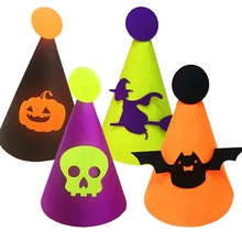 Bat/Witch/Pumpkin/Skull Halloween Cap Cone Children Party Hat Headpiece Masquerade Costume Accessories