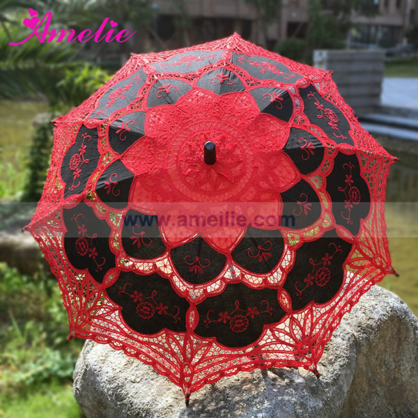 Free Shipping Halloween Party Lace Parasols Red And Black Lolita