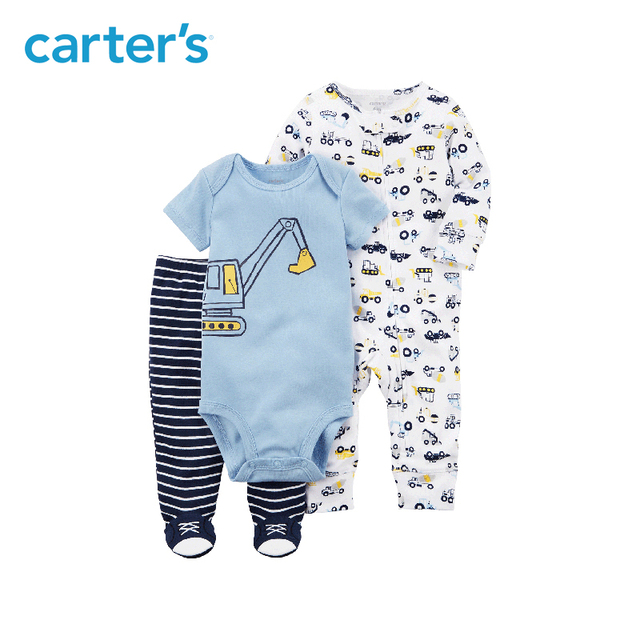 3pcs clothing sets construction print bodysuit stripes footed pants  Carter s baby Boy soft cotton Spring   Fall 126H334 a472d5400
