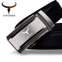 COWATHER 2017 Men 100 Cow Genuine Leather Belts For Men High Quality Alloy Automatic Buckle Belt