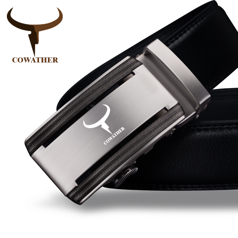 COWATHER 2018 new 100% cow genuine leather   belts   for men high quality alloy automatic buckle   belt   cinto masculino original