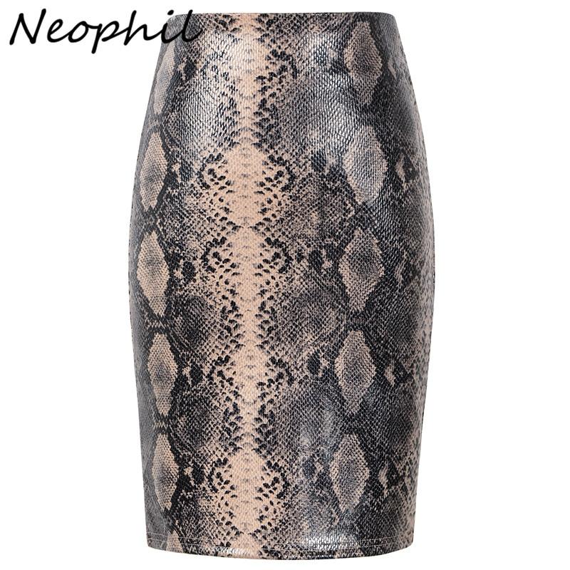 Neophil 2019, зимняя замшевая, кожаная, с принтом, облегающая, женская, короткая юбка карандаш, высокая талия, Змеиный, Леопардовый узор, мини юбки S1912