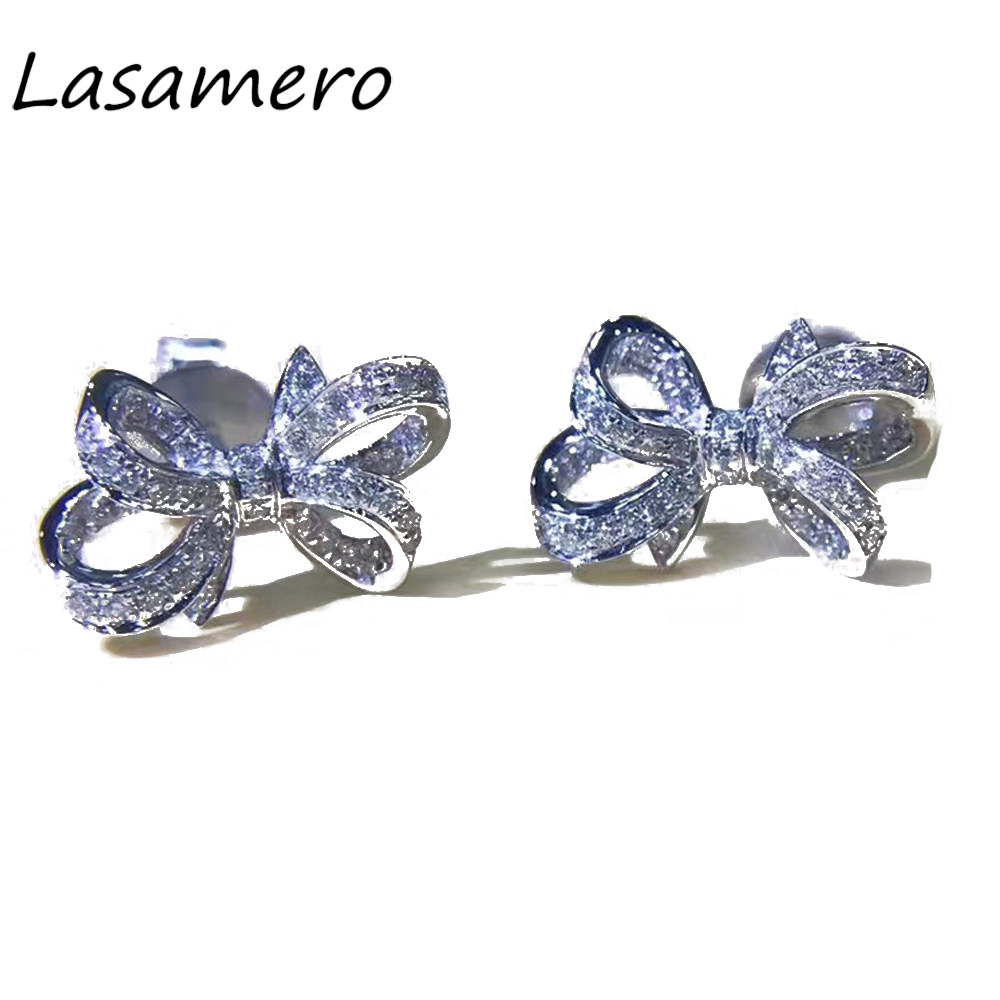 Us 412 25 15 Off Lasamero 0 132 Ctw Flower Natural Diamond Bow Earrings 18k White Gold Stud Fine Jewelry Studs Earring In