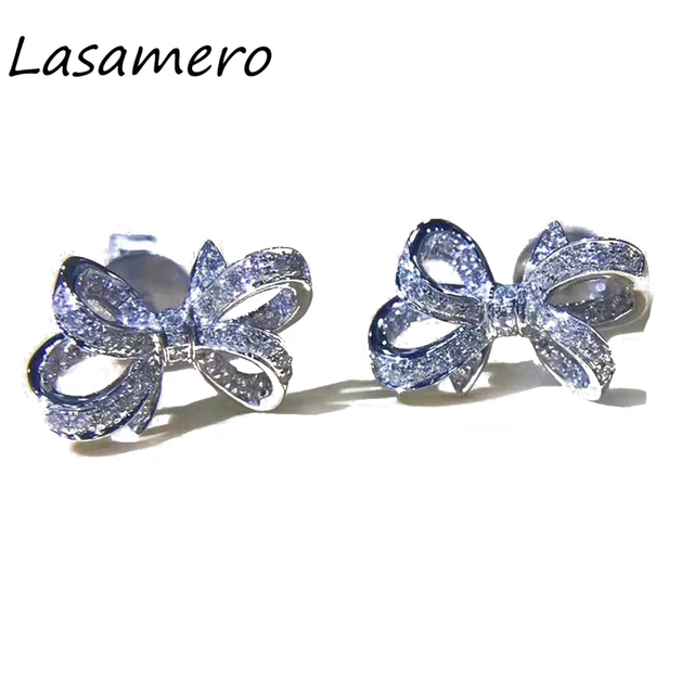 Lasamero 0 132 Ctw Flower Natural Diamond Bow Earrings 18k White Gold Stud Fine Jewelry