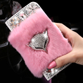 KISSCASE Bling Diamond Fox Case For Samsung Galaxy S6 Edge Rabbit Fur Shells Girly Lady Leather Wallet Holster Stand Flip Cover