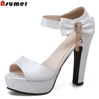 Asumer Size 34 43 New High Quality Thick High Heels Women Sandals Summer Solid Open Toe