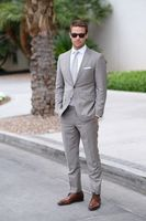 2017 Latest Coat Pant Designs Light Grey Formal Wedding Suits For Men Notched Lapel Groom Best Man Slim Fit 2 Pieces Jacket 406
