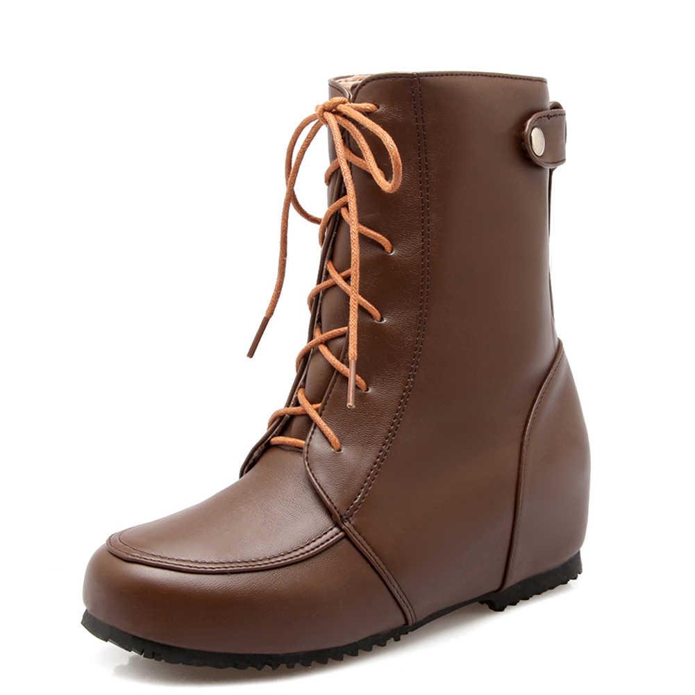 Doratasia Yeni Büyük Boy 30-52 Retro En Kaliteli Rahat Kış Kadın Ayakkabı Rusya Çizmeler orta buzağı Çizmeler ayakkabı Kadın Botları
