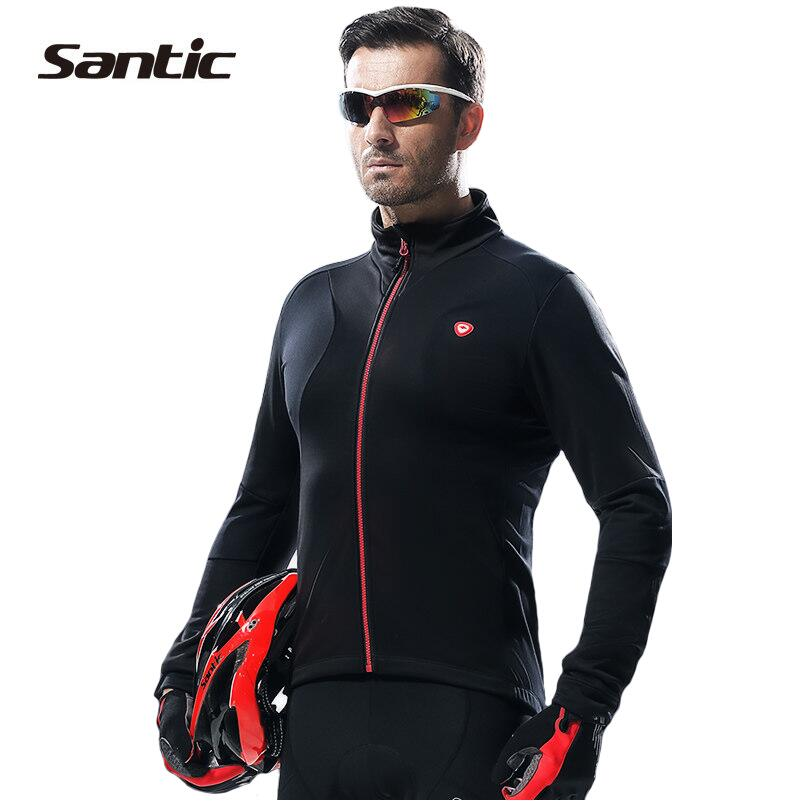 Santic Autumn Winter Cycling Jacket Men Fleece Thermal Bicycle Jacket Long Sleeve Wind Jacket Jersey Bike Clothing Windcoat цена