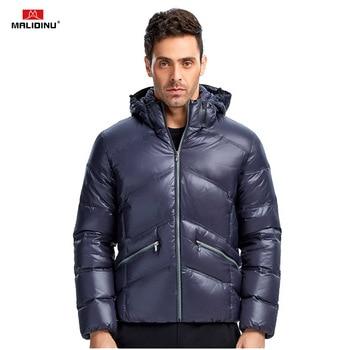 MALIDINU 2020 Men Down Jacket Winter Coat Brand Thick Warm 70%White Duck Shiny Wear
