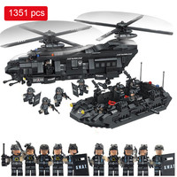 1351pcs Military Swat Team Model Building Blocks Transport Helicopter Compatible Legoed Star Wars Enlighten Bricks Children