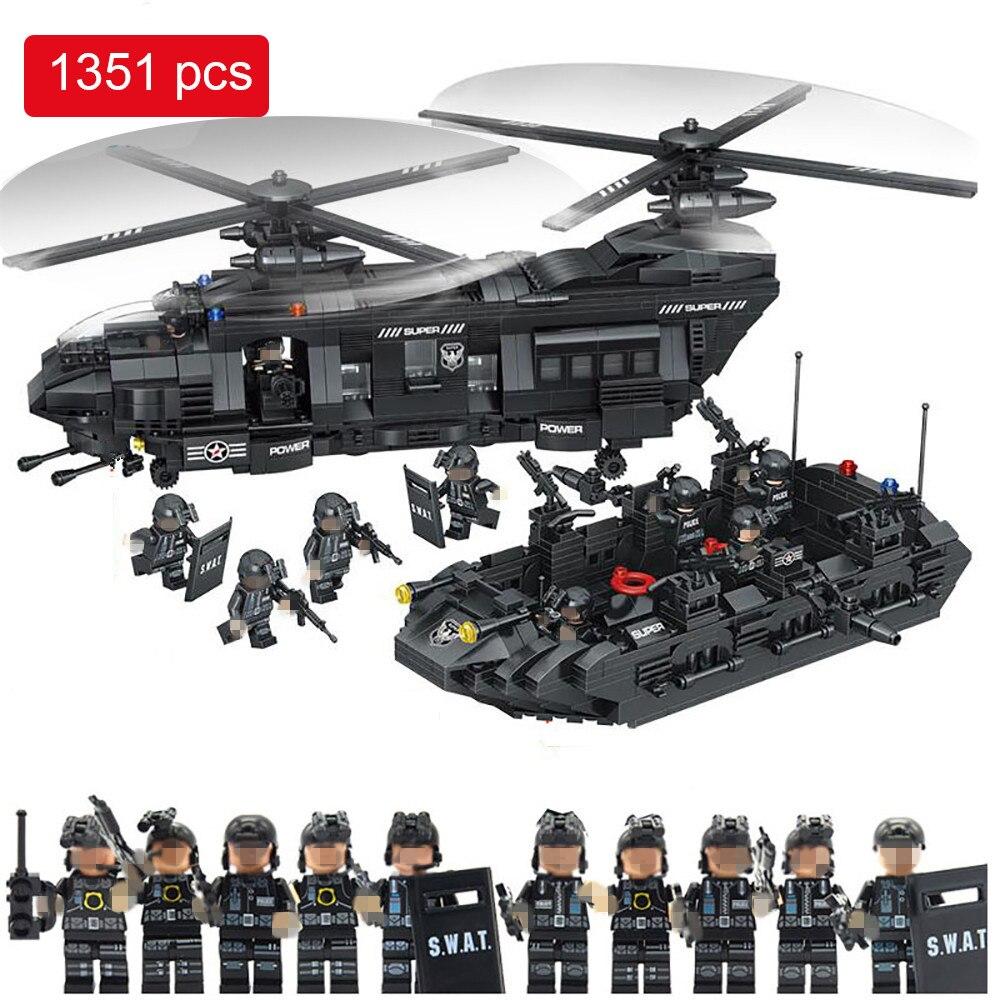 1351 piezas militar Swat equipo modelo bloques de construcción helicóptero de transporte Compatible Legoed Star Wars ilumine ladrillos niños Juguetes