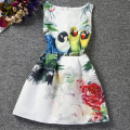 I LEEBAY Summer Style Girl Dress Kids Cotton Cute Animal Parrot Print Clothes Childre Clothes Girl Party Dress Ropa De Ninas