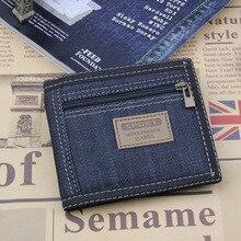 2017 New Vintage Slim Blue Jeans Canvas Wallets Women / Men Quality Man Best Gift for Boyfriend Short Zipper Coin Bag Purses