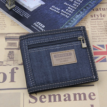 2017 New Vintage Slim Blue Jeans Canvas Wallets Women / Men Quality Man Best Gift for Boyfriend Short Zipper Coin Bag Purses