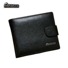 Ekte lær menn lommebøker merkevare høy kvalitet design lommebøker med mynten lomme purses gave til menn kort holder bifold mannlige vesken