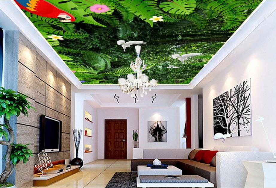 Green plants Ceiling Stickers Wallpaper girls Bedroom Wallpaper Non woven Ceiling Murals Wallpaper