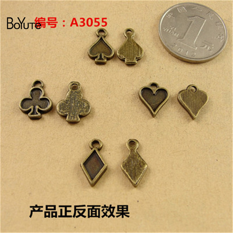 BoYuTe (40 Sets/Lot) 15*8MM Fashion Metal Poker Charms Antique Bronze Plated for Diy Zinc Alloy Charms Bracelet Jewelry Findings