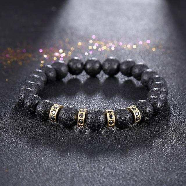2017 Jewelry Men Black Lava Rock Stone Bracelet Rose Gold Color Micro Pave  Cubic Zirconia Hoops Crystal Charm Bracelets Hombre