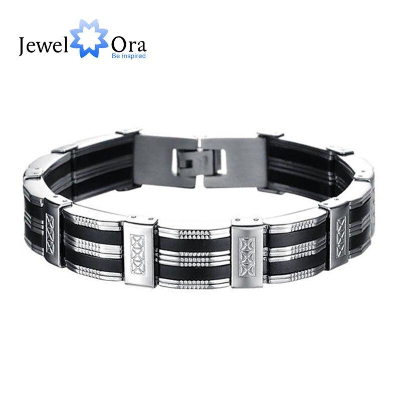 12231d224246 21 cm moda 3 capas de acero inoxidable hombres pulseras y brazaletes del padre  negro pulseras de regalo para el marido (JewelOra BA101388)